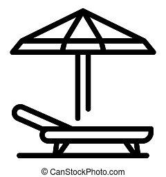 Beach umbrella chair icon, outline style