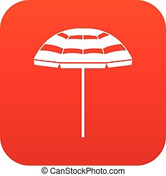Beach umbrella icon digital red