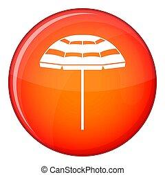 Beach umbrella icon, flat style
