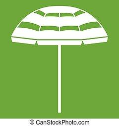 Beach umbrella icon green