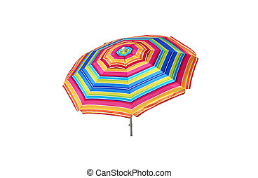 Beach umbrella isolated on white background with clipping path.