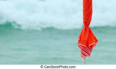 Beach umbrella on ocean coast