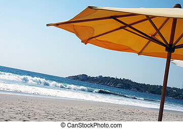 Beach umbrella, Puerto Escondido - Yellow beach umbrella on ...