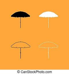 Beach umbrella set black and white icon .