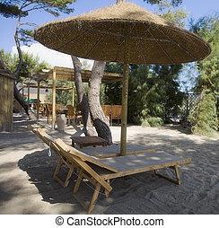 beach umbrellas in a holiday village