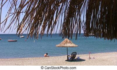 Beach umbrella and sea