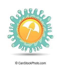 beach umbrella summer vacation sun splashes label vector...