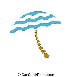 beach umbrella, tourism logo