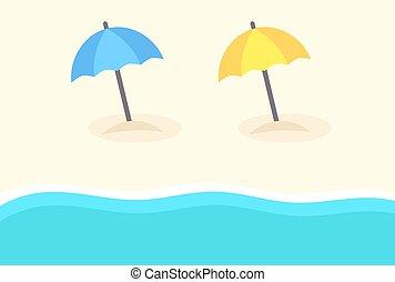 Beach umbrellas and sea wave.