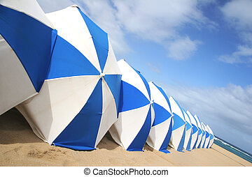 Blue and white parasols on golden beach
