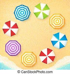 Beach umbrellas on sand at the beach, frame background -...