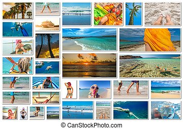 Beach vacation collage