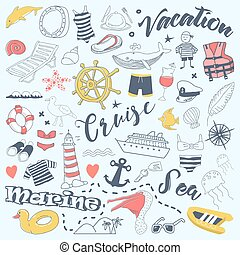 Beach Vacation Freehand Doodles with Cruise Elements. Summer Adventure Hand Drawn Set. Vector illustration