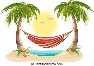 Beach vacation. Hammock between palm trees. Cartoon ...