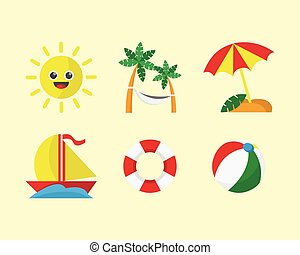 Beach Vacation Icon Set