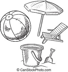 Doodle style beach vacation items illustration in vector format. Set includes beach chair, beach ball, and pail and shovel.
