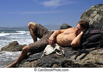 Beach vagabond - Sexy male vagabond beach bum taking a nap...