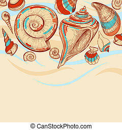 Beach vector background with sea shells