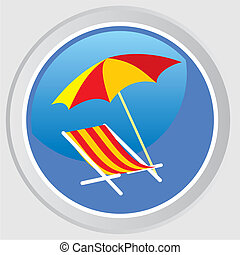 Vector icon. Beach umbrellas and deck chairs.