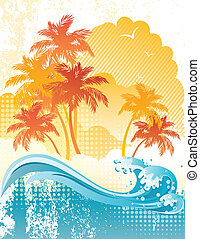 Beach - Vector illustration - grunge background with palm...