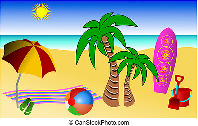 Vector illustration of a typical fun day at the beach. The illustration has the sand, the sun, the sea and a clear blue sky in the background, a red and yellow beach umbrella, a striped towel, green flip flops or thongs, a colorful beach ball, a pink or purple surf board, a red bucket and spade and ...