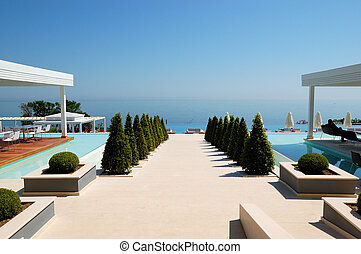 Beach view at the modern luxury hotel, Pieria, Greece