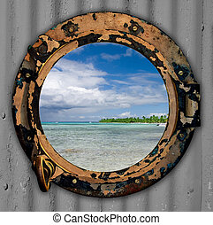 Port hole with a view.