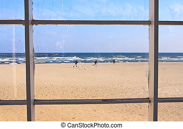 beach view through window