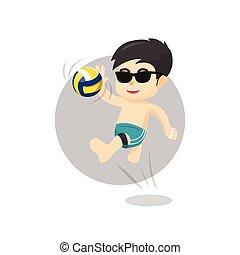 Beach volley ball player