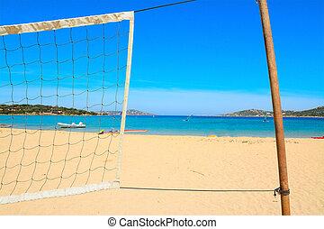 beach volley net by the sea in Porto Pollo