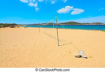 beach volley net in Porto Pollo shore