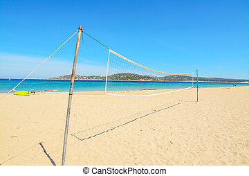 beach volley net with surfboard