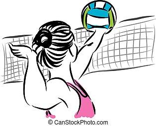 beach volley woman 3 player illustr