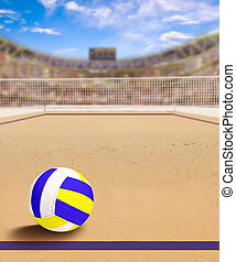 Beach Volleyball Court With Ball on Sand and Copy Space