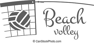 Beach Volleyball label, badge, logo and icon. Sports insignia. Best for volley club, league competition, sport shops, sites or magazines. Use it as print on tshirt. Monochrome. Vector