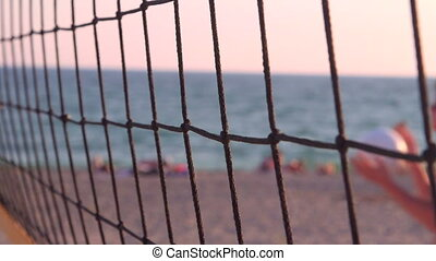 Beach volleyball net close-up