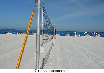 Beach Volleyball Net - A linear photo of two beach...