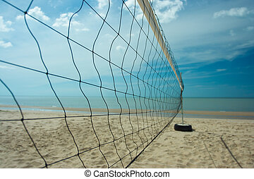 Beach volleyball net with clearly sky