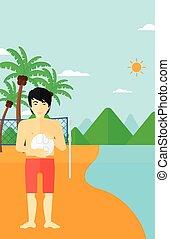 Beach volleyball player.