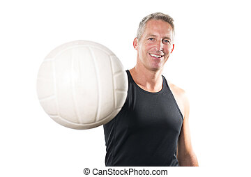 Beach volleyball player Studio shot over white