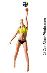 Beach volleyball player (ver with ball) - Young woman beach...