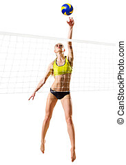 Beach volleyball player (ver with ball and net) - Young...