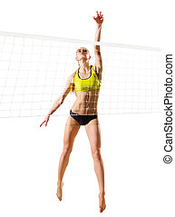 Beach volleyball player (ver with net) - Young woman beach...