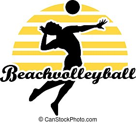 Beach Volleyball Player with word