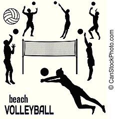 Beach volleyball silhouettes on white