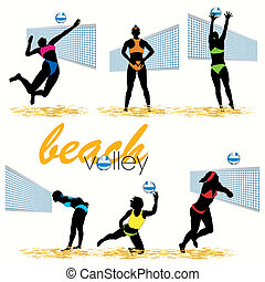 Beach Volleyball Silhouettes Set