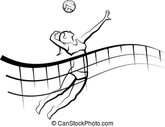 Beach Volleyball with Flowing Net - Stylized line design of...