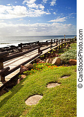 beach walkway - beach pedestrian walkway in north coast of...