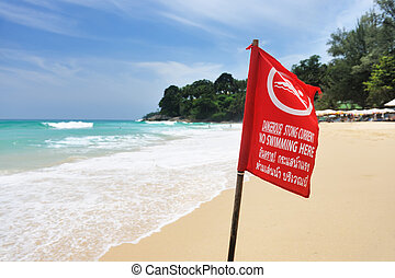 Beach warning sign in Thailand
