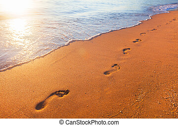 beach, wave and footprints - this is beach, wave and...
